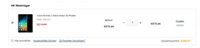 Gearbest: Xiaomi Mi Note 2 für knapp 400 Euro (Screenshot: ZDNet.de)
