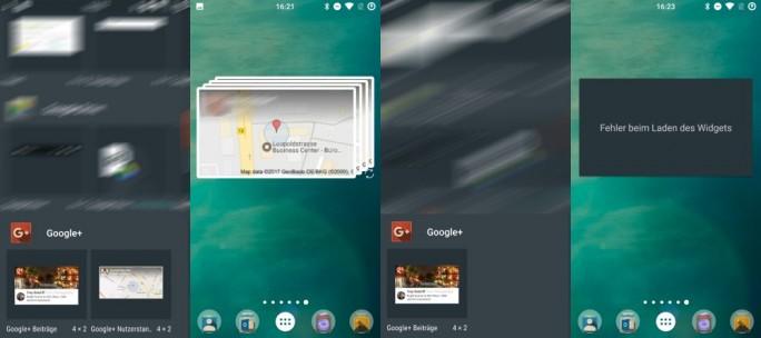 Google+ 9.11 ohne Standortfreigabe-Widget (Bild: ZDNet.de)