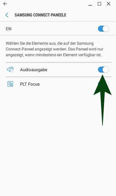 Samsung Connect: Audioausgabe aktivieren (Screeenshot:ZDNet.de)