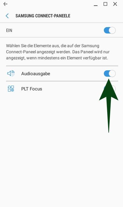 Samsung Connect: Audioausgabe aktivieren (Screeenshot:ZDNet.de)