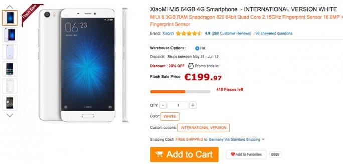 Gearbest: Xiaomi Mi 5 in Weiß für unter 200 Euro (Screenshot: ZDNet.de)