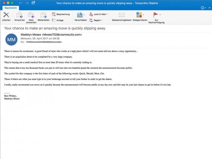 Retarus warnt vor einer aktuellen Spam-Kampagne, bei der verschlüsselt der Penny-Stock von Quest Management Inc., einem lettischen Unternehmen, beworben wird. Die Autoren ändern den Text der Nachricht ständig und überlisten damit Spam-Filter. (Bild: Retarus)