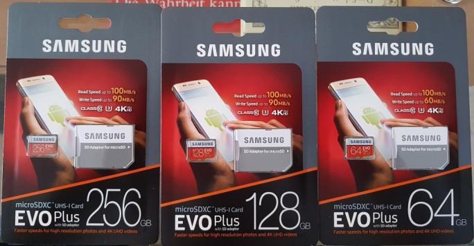 Samsung EVO Plus mit 256, 128 und 64 GByte (Bild: ZDNet.de)