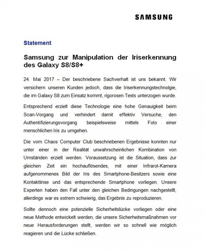 Samsung: Stellungnahme zum CCC-Test (Screenshot: ZDNet.de)