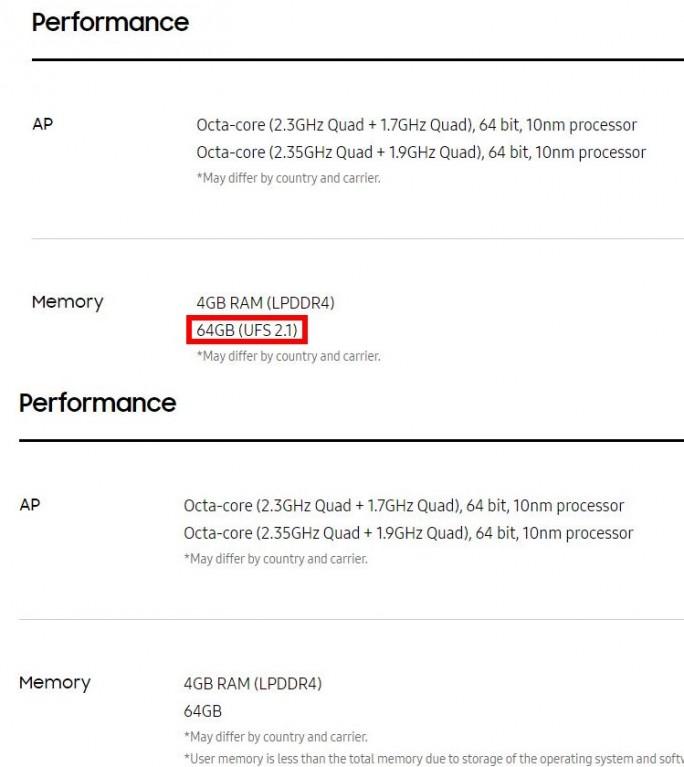 Samsung Galaxy S8: Der Hinweis auf UFS-2.1-Speicher fehlt inzwischen (Screenshot: ZDNet.de)