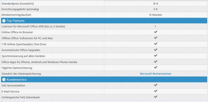 Leistungsumfang des bei Strato angebotenen Office-365-Pakets (Screenshot: silicon.de)