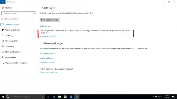 Windows 10: Hinweis auf Creaors Update (Screenshot: ZDNet.de)