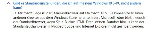 Windows 10 S: Standardbrowser ist fest eingestellt (Screenshot: ZDNet.de)