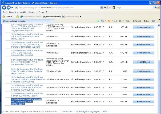 Sicherheitsupdate KB4012596 für Windows XP (Bild: Microsoft)