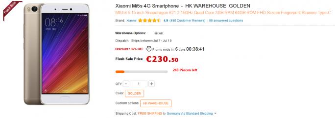 Xiaomi Mi 5s für 230,50 Euro (Screenshot: ZDNet.de)