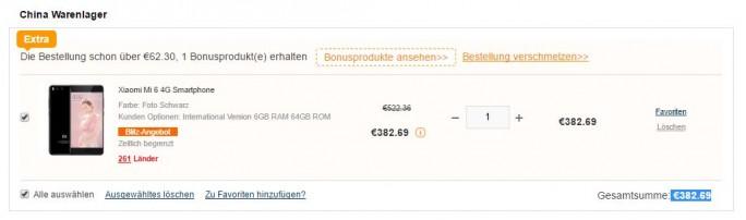 Xiaomi Mi 6 für 383 Euro (Screenshot: ZDNet.de)