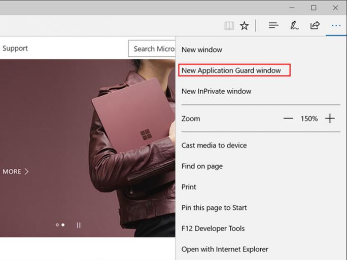 Edge bietet mit Application Guard geschützte Fenster an (Bild: Microsoft)