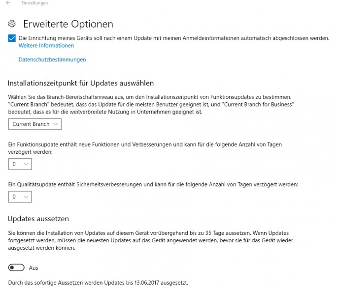 Updates lassen sich in Windows 10 Creators Update aussetzen (Screenshot: Thomas Joos).