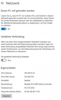 In Windows 10 1703 lassen sich Netzwerkverbindungen auch als getaktete Verbindung definieren