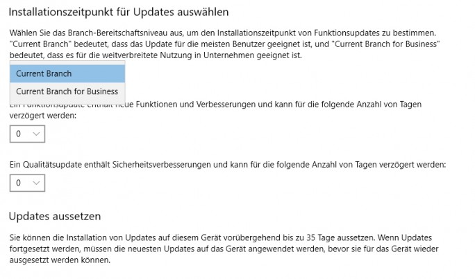 Windows 10 Creators Update ermöglicht flexiblere Steuerung von Updates (Screenshot: Thomas Joos).