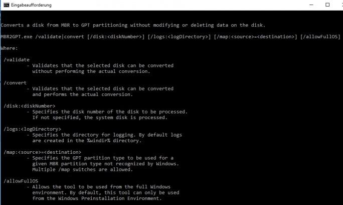 Windows 10 Version 1703 verfügt über ein Befehlszeilentool zur Konvertierung von MBR-Festplatten ins GPT-Format (Screenshot: Thomas Joos).