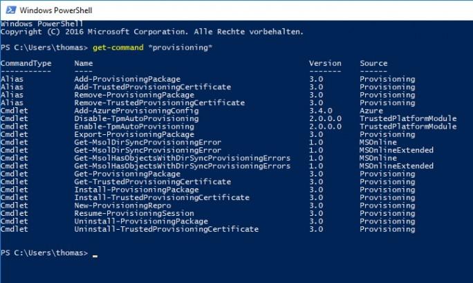Windows 10 Version 1703 bietet zusammen mit dem Windows Configuration Designer zahlreiche PowerShell für die Bereitstellung von Windows 10 (Screenshot: Thomas Joos).