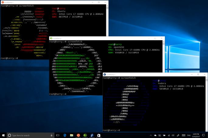 Das Linux Subsystem für Windows unterstützt künftig auch die Bash-Shells von Suse und Fedora (Screenshot: Microsoft).