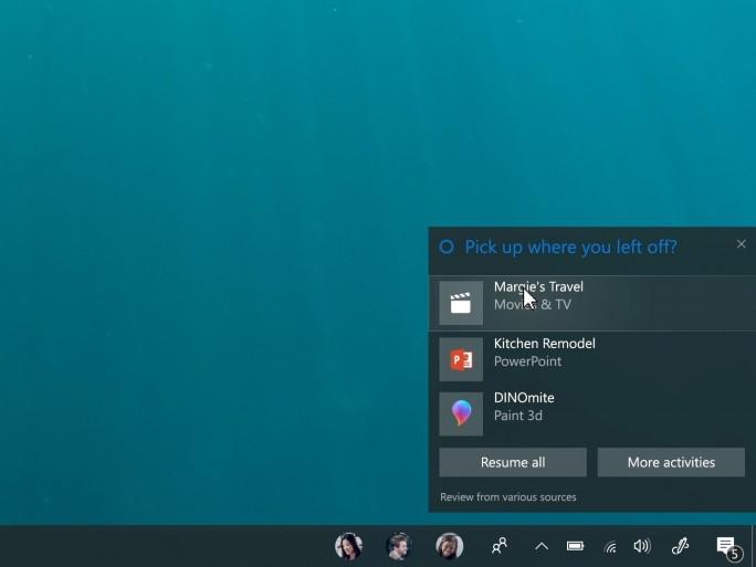 Das Fall Creators Update erlaubt es, auf einem Gerät begonnene Arbeiten auf einem anderen fortzusetzen (Bild: Microsoft).