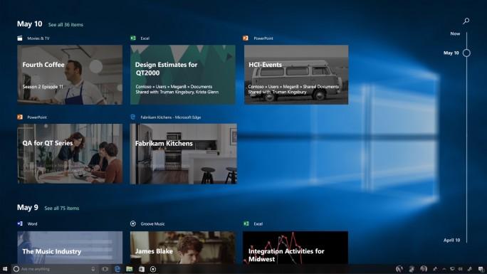 """Fehlt im Fall Creators Update: Die Funktion """"Timeline"""" bietet einen einfachen Zugriff auf zuletzt geöffnete Apps, Dateien und Websites (Bild: Microsoft)."""