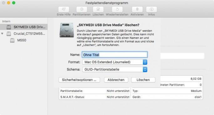 Mit dem Festplattendienstprogramm wird der USB-Stick zunächst formatiert. ACHTUNG: Anders als hier im Beispiel wird ein Stick mit 16 GByte Kapazität benötigt (Screenshot: ZDNet.de).
