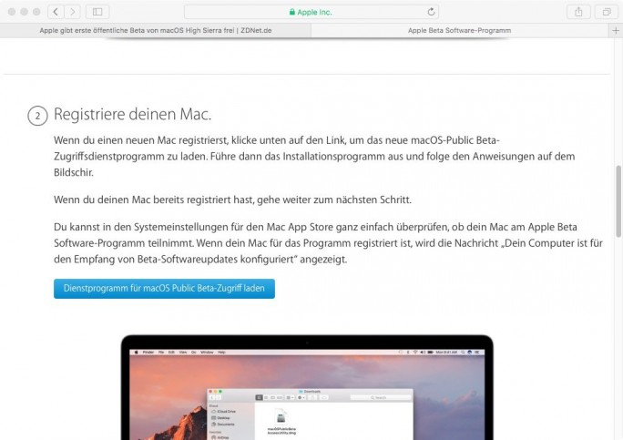 macOS 10.13 High Sierra: Beta-Tool herunterladen (Screenshot: ZDNet.de)
