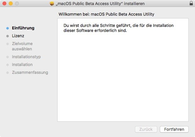 macOS 10.13 High Sierra: Beta-Tool ausführen (Screenshot: ZDNet.de)