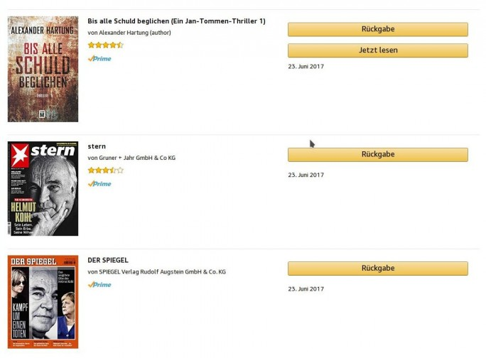 Amazon Cloud Reader: Prime Reading (Bild: ZDNet.de)