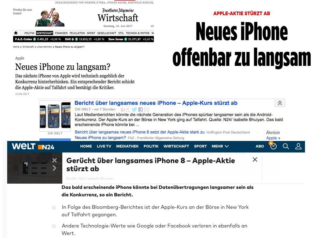 Bericht über langsames neues iPhone 8 setzt der Apple-Aktie stark zu