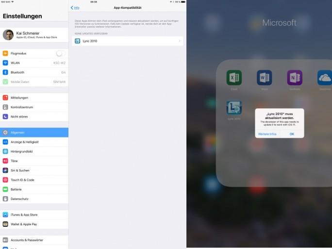 Apple iOS 11 führt 32-Bit-Apps nicht aus (Screenshot: ZDNet.de)