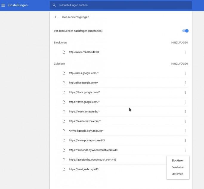 Chrome-Benachrichtigung: Webseite entfernen (Screenshot: ZDNet.de)