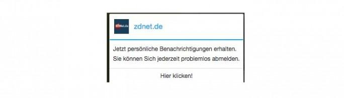 Chrome: Anfrage über den VErsand von Benachrichtigungen (Screeenshot: ZDNet.de)