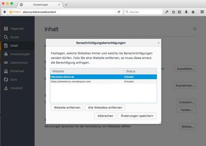 Firefox-Benachrichtigung: Webseite entfernen (Screenshot: ZDNet.de)