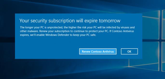 Mit dieser Meldung informiert Microsoft die Nutzer, dass die Lizenz eines AV-Programmes ausläuft. (Bild: Microsoft)