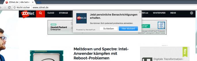 Push-Benachrichtigungen bei ZDNet.de (Bild: ZDNet.de)