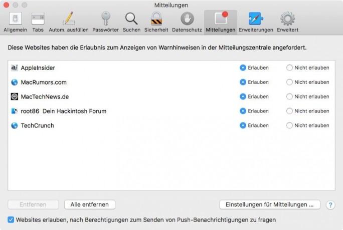 Safari-Benachrichtigungen kontrollieren (Screenshot: ZDNet.de)