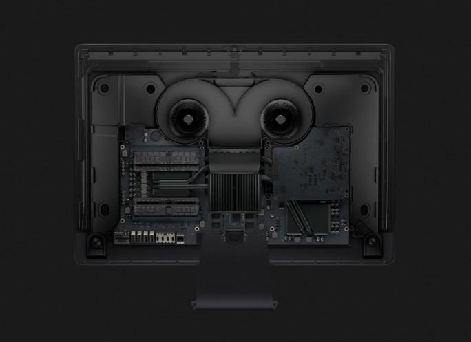 Der iMac Pro verfügt über Stereolautsprecher und ein neues Kühlsystem (Bild: Apple).