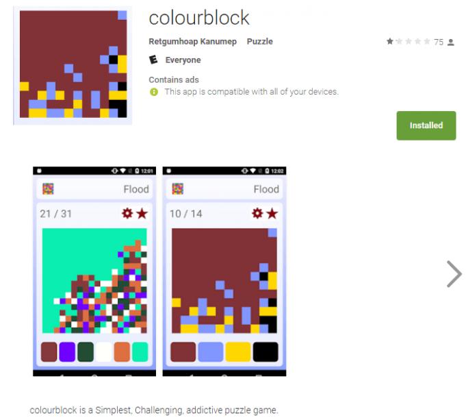 Der Trojaner Dvmap hat sich in dem Spiel Colourblock versteckt, das Google inzwischen aus dem Play Store verbannt hat (Screenshot: Kaspersky Lab).