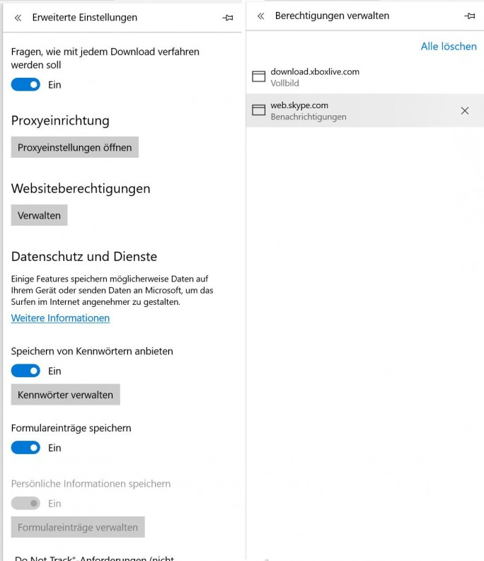 Edge: Webseiten-Benachrichtigungen kontrollieren (Screenshot: ZDNet.de)