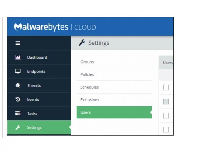 Die Verwaltung der Umgebung erfolgt über eine Weboberfläche. Hier werden auch die Benutzerkonten für Endpoint Cloud-Plattform angelegt (Screenshot: Malwarebytes).