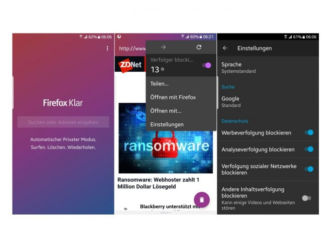 Firefox Klar für Android (Screenshot: ZDNet.de)