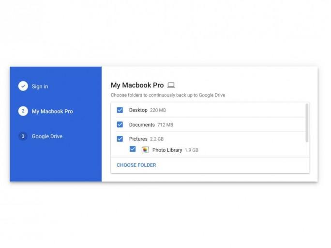 Google Backup & Sync unterstützt die Sicherung lokaler Ordner wie Desktop und Dokumente auf Google Drive (Screenshot: Google).