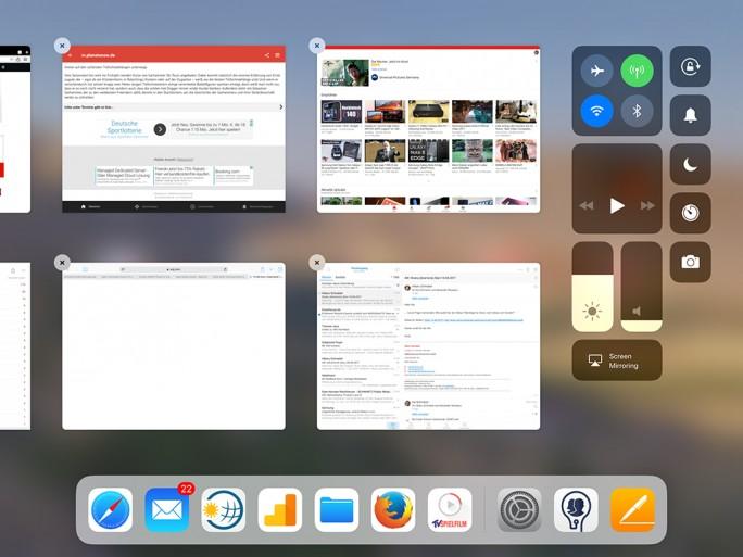 iOS11: Multitasking auf dem iPad Pro (Bild: ZDNet.de)