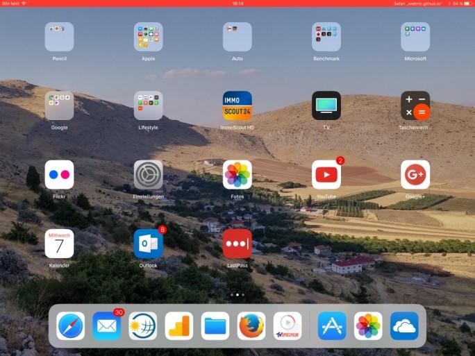 iOS 11: Rote Statusbar bei aktiver WebRTC-Verbindung (Screenshot: ZDNet.de)