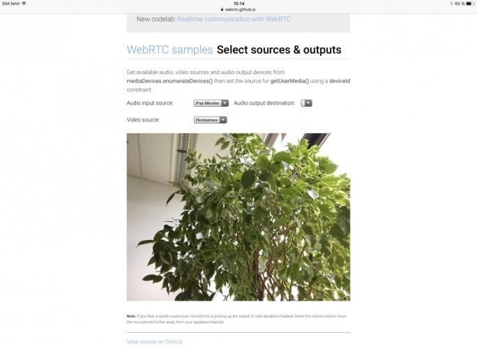 iOS 11: Safari unterstützt WebRTC (Screenshot: ZDNet.de)
