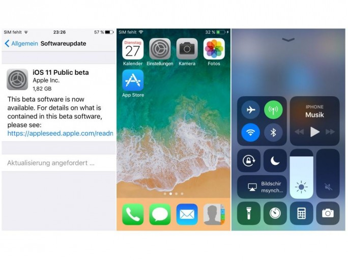 iOS 11 Beta (Screenshot: ZDNet.de)