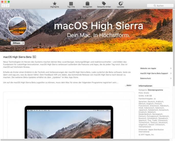 macOS 10.13 High Sierra: Herunterladen aus dem Mac-App-Store (Screenshot: ZDNet.de)