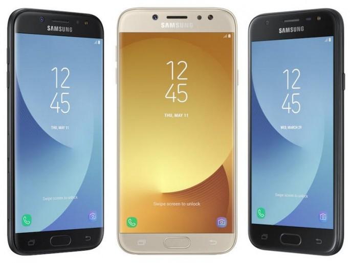 In der Mitte Galaxy J7 in Gold, links davon Galaxy J5 und rechts Galaxy J3 (Bild: Samsung)