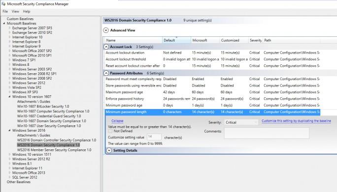 SCM zeigt die Einstellungen an, die gesetzt sind, und welche Optionen von Microsoft empfohlen werden (Screenshot: Thomas Joos).