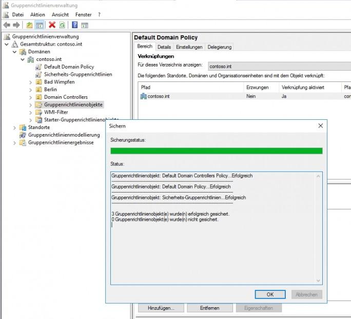 Gruppenrichtlinien lassen sich in der Gruppenrichtlinienverwaltungskonsole sichern und wiederherstellen sowie importieren (Screenshot: Thomas Joos).